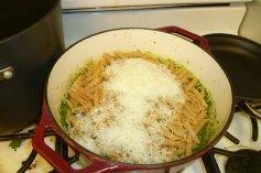 Pasta & Cheese Added To Pesto & Artichokes