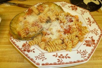 Pasta & Fried Eggplant Plated