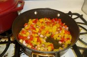 Cooking Pancetta & Peppers