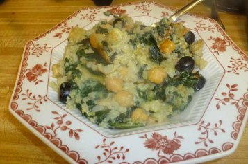 Spinach Rice Pilaf Pie with Chickpeas and Olives Plated