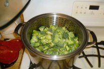 Steaming Broccoli Over Pasta Water