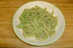 Spaghetti With Broccoli Cream Pesto Plated