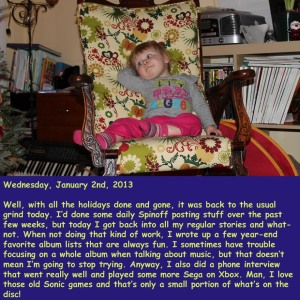 Wednesday, January 2nd, 2013