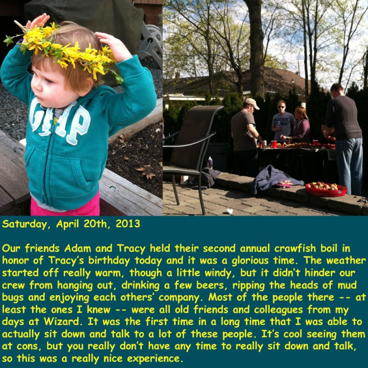 Saturday, April 20th, 2013