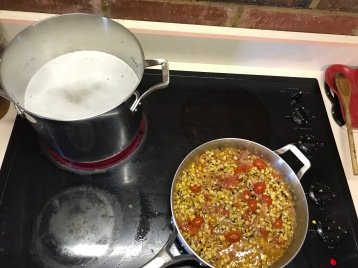 pasta and sauce cooking